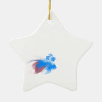 Rotes u. blaues flockiges keramik Stern-Ornament