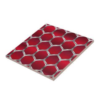 Rotes u. metallisches silbernes Octagons-Muster Fliese