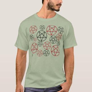 Rotes u. schwarzes Pentagrams-Shirt T-Shirt