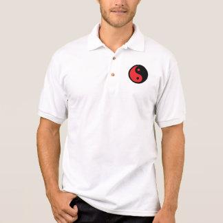 Rotes u. schwarzes Yin Yang Polo Shirt