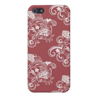 Rotes u. weißes Vintages Blumenmuster iPhone 5 Etui
