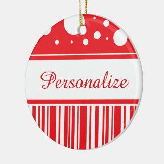 Rotes u. weißes Weihnachten Keramik Ornament
