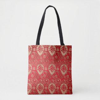 Rotes und blasses Gold Paisley Tasche