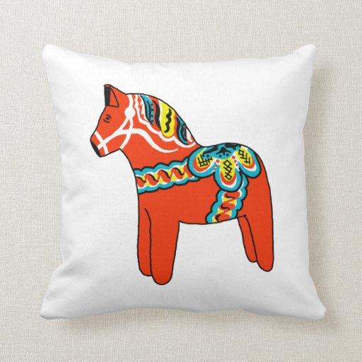 Rotes und blaues Dala Pferdekissen Zierkissen