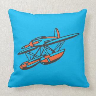 Rotes und blaues Seeflugzeug Kissen