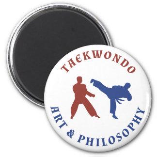 Rotes und blaues Taekwondo Runder Magnet 5,7 Cm