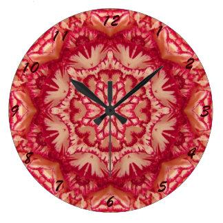 Rotes und Elfenbein-Pfefferminz-viktorianisches Große Wanduhr