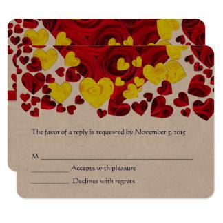 Rotes und gelbes Rosen-Herzen UAWG Karte
