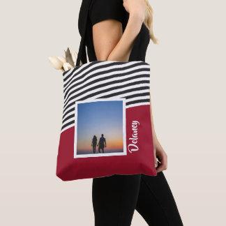 Rotes und gestreiftes Muster-personalisiertes Foto Tasche