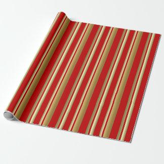 Rotes und goldenes vertikale Streifen-Packpapier Geschenkpapier