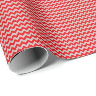 Rotes und graues kleines Zickzack Geschenkpapier