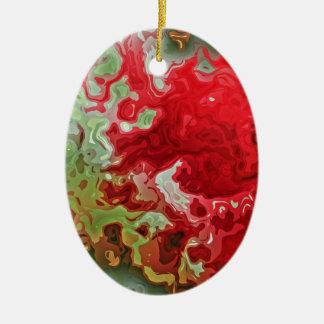Rotes und grünes abstraktes keramik ornament