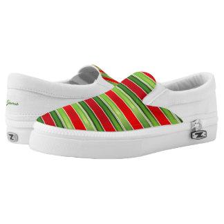 Rotes und grünes gestreiftes Slip-On sneaker