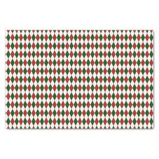 Rotes und grünes Harlekin-Diamant-Rauten-Muster Seidenpapier