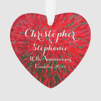 Rotes und grünes Herz-Jahrestags-Weihnachtsacryl Ornament
