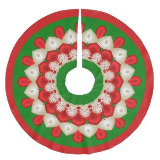 Rotes und grünes Kaleidoskop Polyester Weihnachtsbaumdecke