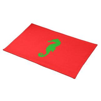 Rotes und grünes Küstenweihnachtsdekor-Seepferd Stofftischset