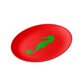 Rotes und grünes Küstenweihnachtsdekor-Seepferd Teller