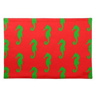 Rotes und grünes KüstenweihnachtsSeepferd-Muster Tischset