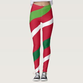 Rotes und grünes Streifen-Gamaschen #HolidayZ Leggings