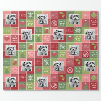 Rotes und grünes WeihnachtsFoto mit wunderlicher Geschenkpapier