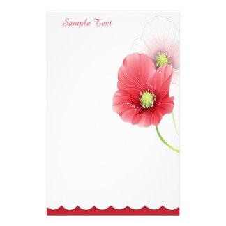 Rotes und rosa Mohnblumen-Briefpapier Personalisiertes Druckpapier