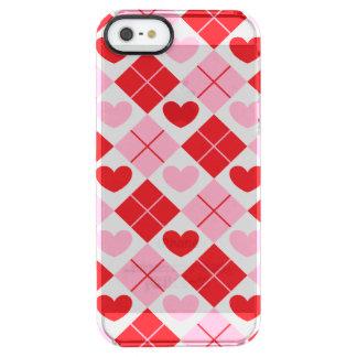 Rotes und rosa Rauten-Herz-Muster Durchsichtige iPhone SE/5/5s Hülle