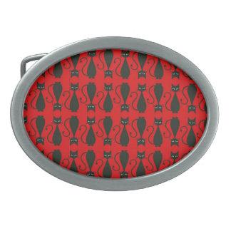 Rotes und schwarzes Goth Katzen-Muster Ovale Gürtelschnalle