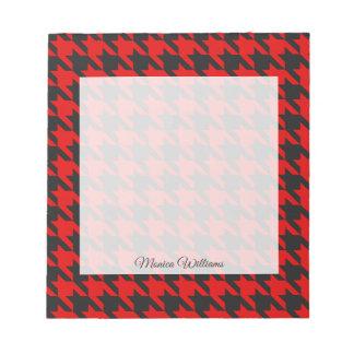 Rotes und schwarzes Hahnentrittmuster-Muster Notizblock