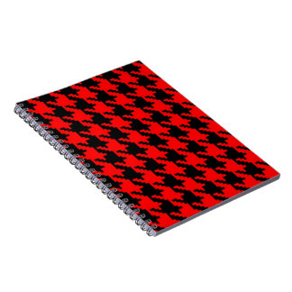 Rotes und schwarzes Hahnentrittmuster Notizblock