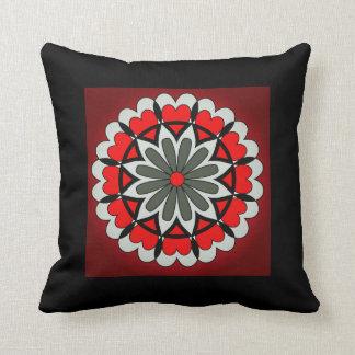 Rotes und schwarzes Herz-Blumen-Kissen Kissen