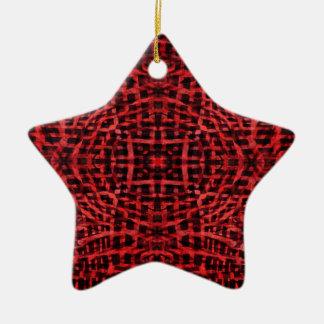 Rotes und schwarzes Kaleidoskopmuster Keramik Ornament