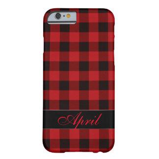 Rotes und schwarzes kariertes des Landes Barely There iPhone 6 Hülle