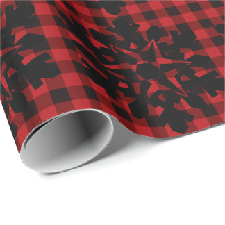 Rotes und schwarzes kariertes des Landes mit Geschenkpapier