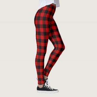 Rotes und schwarzes kariertes leggings