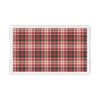 Rotes und schwarzes kariertes Muster Acryl Tablett