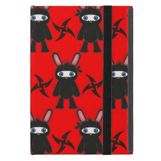 Rotes und schwarzes Ninja Häschen-Muster iPad Mini Hüllen
