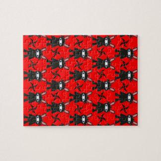 Rotes und schwarzes Ninja Häschen-Muster Puzzle