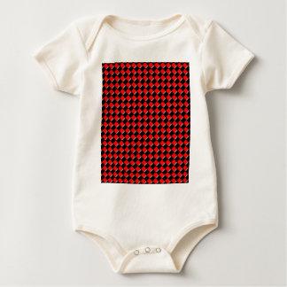 Rotes und schwarzes Quadrat Baby Strampler