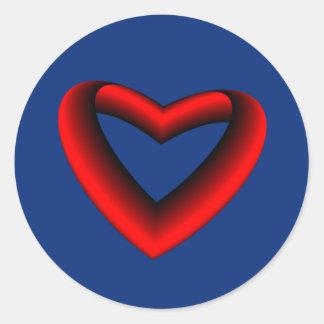 Rotes und schwarzes Steigungs-Herz Runder Aufkleber