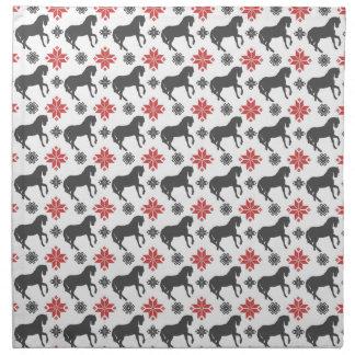 Rotes und schwarzes Weihnachtspferd Serviette
