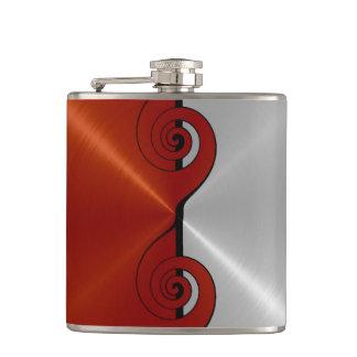 Rotes und silbernes metallisches Stahlmetall Flachmann
