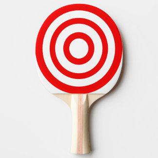 Rotes und weißes Bullaugen-Ziel-Klingeln Pong Tischtennis Schläger