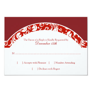 Rotes und weißes Damast-Foto-Hochzeit UAWG 8,9 X 12,7 Cm Einladungskarte