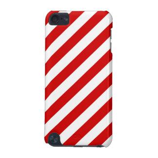 Rotes und weißes diagonales Streifen-Muster iPod Touch 5G Hülle