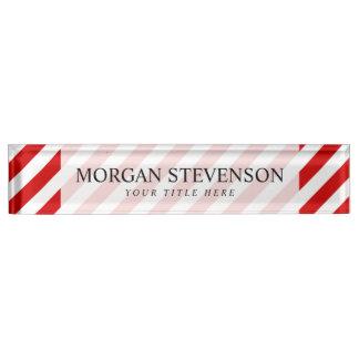 Rotes und weißes diagonales Streifen-Muster Schreibtischplakette