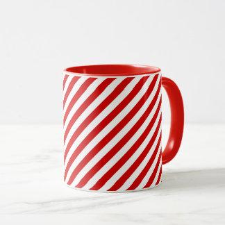 Rotes und weißes diagonales Streifen-Muster Tasse