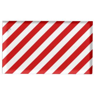Rotes und weißes diagonales Streifen-Muster Tischnummernhalter