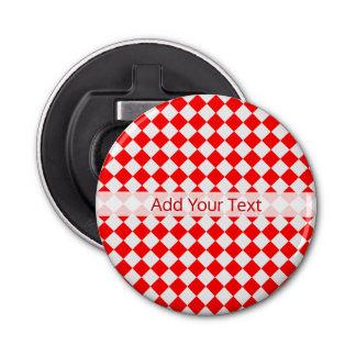 Rotes und weißes Diamant-Muster durch Runder Flaschenöffner