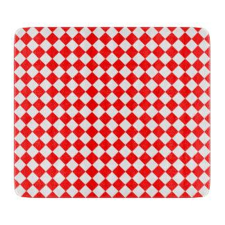Rotes und weißes Diamant-Muster durch Schneidebrett